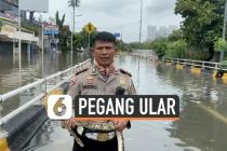 VIDEO: Viral, Polisi Laporkan Banjir Jakarta Sambil Pegang Ular